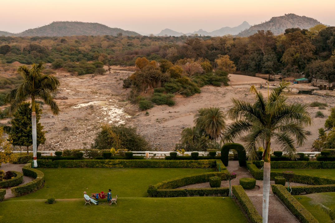 View over the dry river from a local Maharaja palace in North of Gujarat